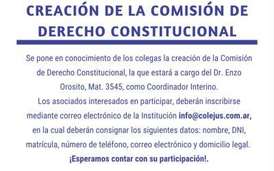 CONVOCATORIA A INSCRIPCIÓN COMISIÓN DERECHO CONSTITUCIONAL.-