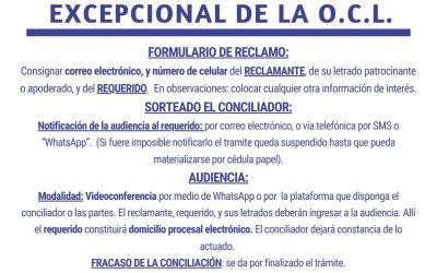 PROTOCOLO PARA EL FUNCIONAMIENTO EXCEPCIONAL DE LA OFICINA DE CONCILIACION LABORAL-OCL (RES.3251).-