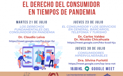 """JORNADAS """"EL DERECHO DEL CONSUMIDOR EN TIEMPOS DE PANDEMIA"""".-"""
