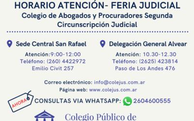 HORARIO ATENCION COLEGIO DE ABOGADOS    FERIA JUDICIAL JULIO 2021